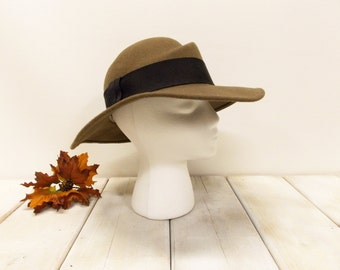 Vintage Wide-Brimmed Felt Hat--- Brown Fedora Style Hat by Saks Fifth Avenue--- Made in Italy