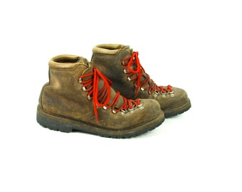 Calzaturificio the Alps by Fabiano Made in Italy, Brown Leather Hiking Boots, Men's Size 11 1/2