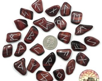 Reg Red Tigers Eye Rune Set Hand Carved Elder Futhark With Manual & Pouch