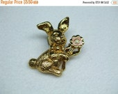 ON SALE 20% OFF Vintage Bunny gold tone pin  figural brooch-with Rhinstones