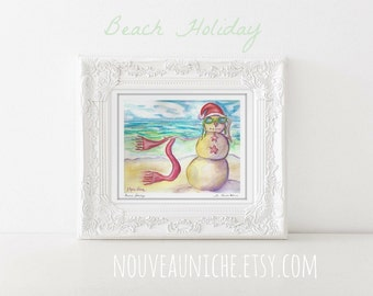 Beach Holiday Watercolor Painting, Art Print, Snowman decor, Christmas Painting, Holiday decor, Christmas wall art, coastal Christmas