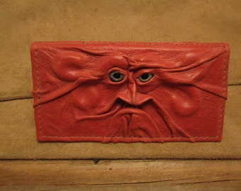 "Grichels leather checkbook cover - ""Celak"" 26283 - red with silvery blue fish eyes"