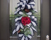 Valentines Day Swag, Valentine Wreath, Valentine's Day Door Wreath, Hydrangea Valentine Swag, Houndstooth Ribbon Swag