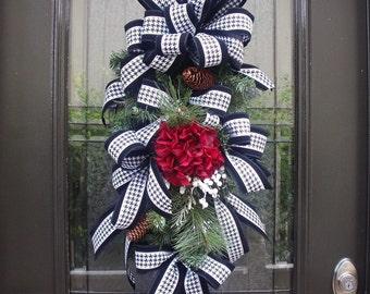 Christmas Swag, Christmas Wreath, Winter Door Wreath, Wreath Swag, Black and White Door Decor