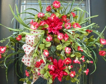 Red Spring Wreath, Summer Wreath For Front Door, Wild Summer Wreath, Red Wreaths, Morning Glory Wreath