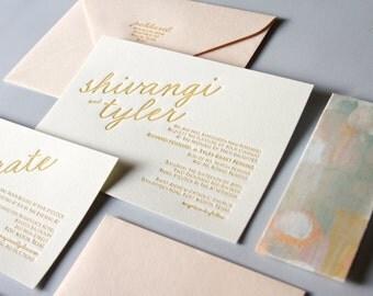 Abstract Landscape Letterpress Wedding Invitation Sample
