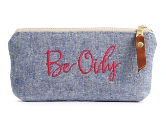 Be Oily Essential Oils Pouch in Chambray with Waterproof Liner
