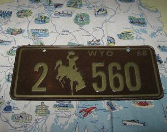 Vintage Bicycle License Plate Wyoming State Mini Cereal Premium Metal