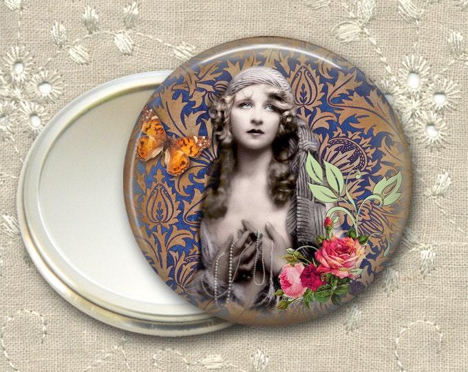 vintage lady pocket mirror,  original art hand mirror, mirror for purse, bridesmaid gift, stocking stuffer  MIR-727