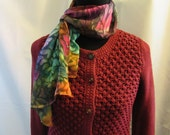 Cuddly silk and cotton sweater has antique buttons