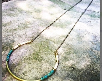 U-shaped turquoise and shell heishi bead necklace