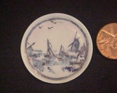 Dollhouse Miniature 1/12th scale china painted kiln fired Delft  platter Uyetake