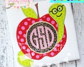 Apple Worm Monogram Applique Design Machine Embroidery Design Back to School INSTANT DOWNLOAD