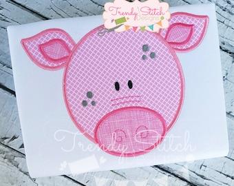 Pig Face Applique Machine Embroidery Design INSTANT DOWNLOAD