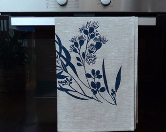 Linen Tea Towel Screen Printed Tea Towel Hand Printed Navy&Natural Australian Eucalypt