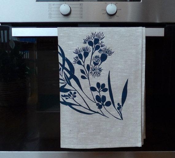 Zebra Tea Towels: Linen Tea Towel Screen Printed Tea Towel Hand Printed