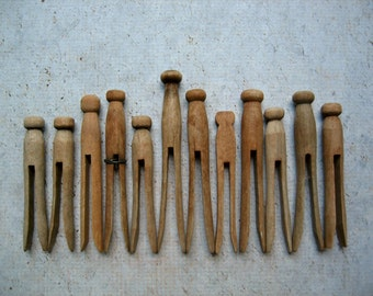 12 Rustic Wooden Clothespins