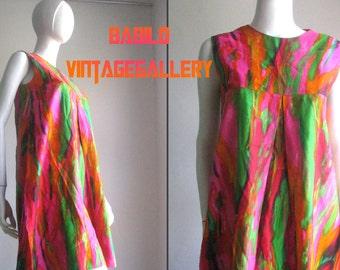 70s vintage artsy splatter dress cotton