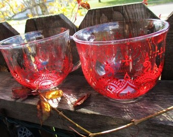 Oversized Clear Glass Mugs Hand-Painted Red Mehndi Henna Design, Set of 2