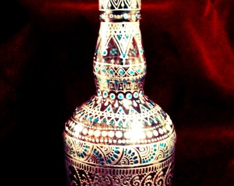 Hand-Painted Silver Turquoise Henna Mehndi Whiskey Oil Dispenser Bottle