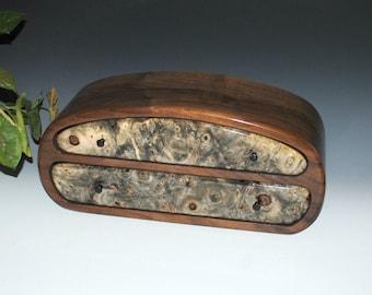 Handmade Men's Wood Jewelry Box or Valet Box - Buckeye Burl on Walnut -Guy Gift- Handmade Jewelry Box by BurlWoodBox - Handmade Wooden Boxes