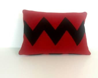 """Wool Pillow Cover, 11""""X16"""", Red and Black"""