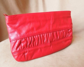 Vintage 80's Red Clutch Bag, Red Leather Clutch Purse, Pretty Gathered Detail, SALE