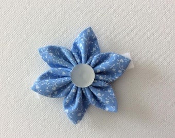 Blue and White Flower Dog Collar- Ready to Ship