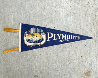 Vintage Pennant - Plymouth Massachusetts