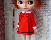 Big pleated dress red for blythe