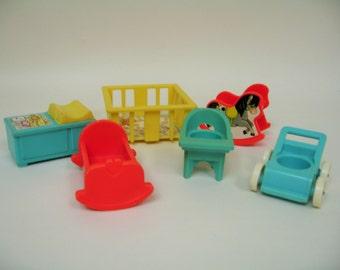 Vintage Fisher Price Little People Nursery Furniture