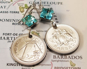 Barbados, Authentic Coin Earrings - - Sweet History - - Historic Preservation - World Treasure - Be a Traveler - Windmill