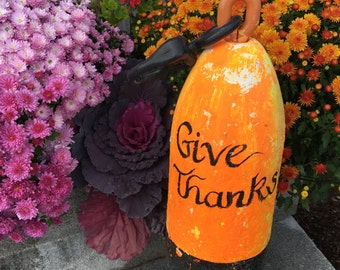 Large Rustic Hand Painted Give Thanks Foam Buoy, Fall Thanksgiving Outdoor Coastal Beach Home Decoration