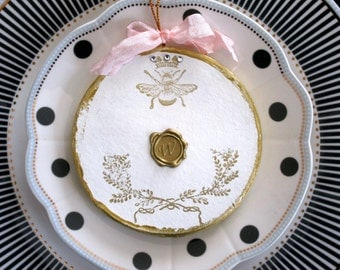 Initial Ornament Family Ornament Hostess Gift Personalized Faux Wax Seal Initial Ornament Shabby Chic Party Favor Royal Bee Paris French Bee