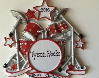 Personalized Christmas Ornament Drummer Musicians, Artist Rockstar,Drum Set- Free personalization
