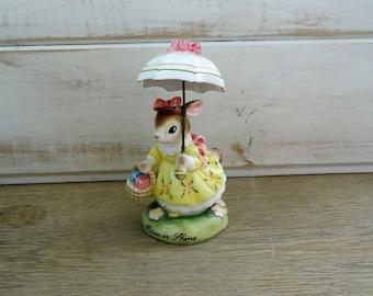 """Avon """"Cherished Moments"""" Bunny Rabbit Figurine - Come Rain Or Shine"""