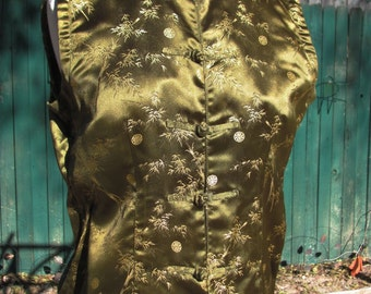 Olive Green and Gold Sleeveless Chinese Style Shirt