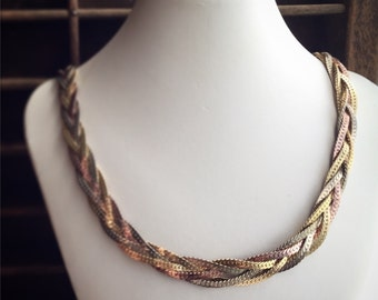 Vintage Braided Necklace / Flat Snake Chain Gold Silver Copper / Mixed Metals