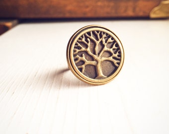 Tree of Life Ring / Adjustable Antique Brass Bronze / Circle Hippie Boho Bohemian Wanderer Gift Outdoorsy Nature Lover Statement