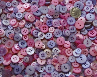 500 Pink Lavender Button Small Mix, Bulk Grab Bag, Sewing, Crafting, Jewelry (1392 a)