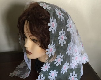 SALE Triangle  Snow white   lace church chapel mantilla veil scarf - floral- scalloped  - have 1 already made -