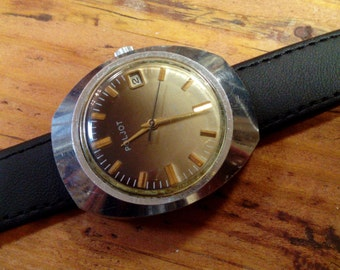 Mens watch Poljot, mens wrist watch from Russia Soviet Union, Vintage retro style,