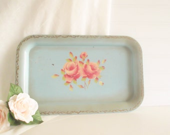 Vintage Tole Tray Blue Metal Tray Mid Century Decor Shabby Cottage