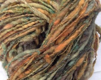 Handspun dyed art yarn from Shetland sheep wool about 44 yards