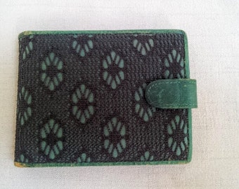 Vintage Womens Billfold Wallet, Aqua Blue Genuine Leather w/ Black Floral Lace Overlay, Ladies Wallet, Made in ITALY for Carson Pirie Scott