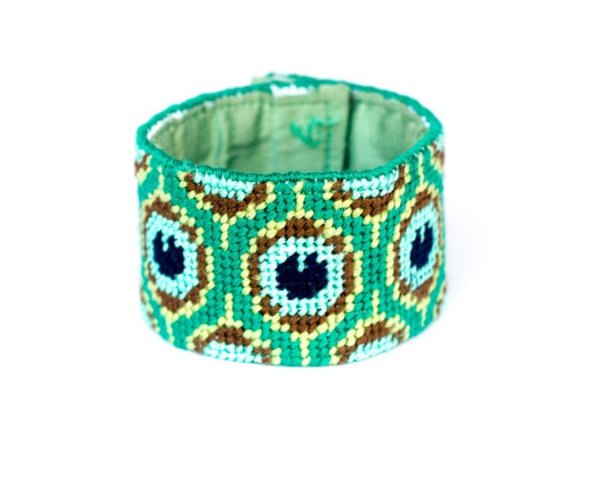 DIY Needlepoint Cuff Kit in Peacock