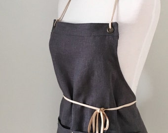 Full Apron Woman Short Mini Apron  Linen Gray  Skinny Leather Straps Kitchen Rustic Restaurant Caterer