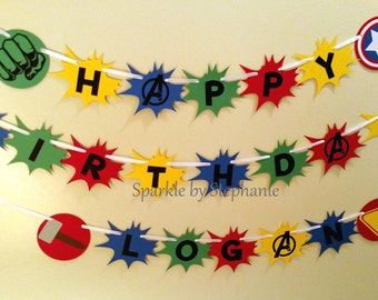 Avengers Superhero Shield Banner - Happy Birthday - Personalized additions available