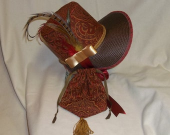 Red, Brown and Gold Stovepipe Bonnet and Reticule- Regency, Georgian, Jane Austen Era Bonnet and Purse