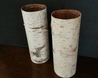 "Two tall birch bark vases, 9"""